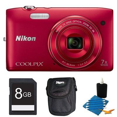 COOLPIX S3500 Red Digital Camera 8GB Bundle