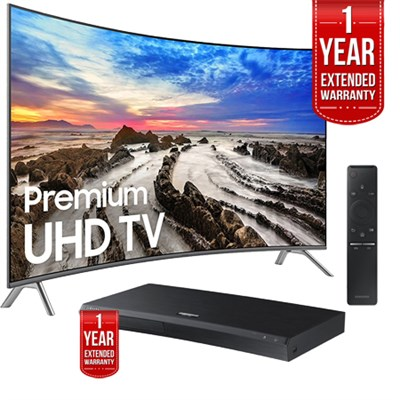 UN65MU8500FXZA 64.5` Curved 4K LED TV 2017 + Blu-Ray Player + Extended Warranty