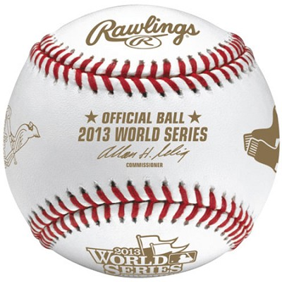 2013 World Series Baseball with Cardinals and Red Sox Logos in Cube