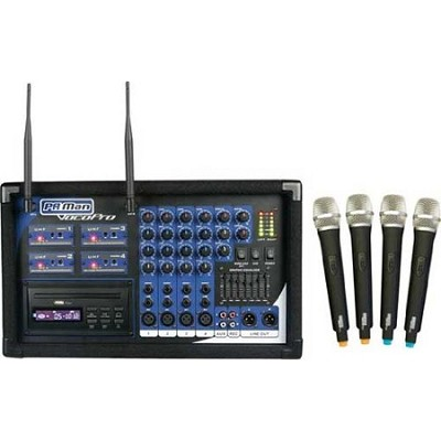 PA MAN 4 Channel Wireless Microphone Powered Mixer