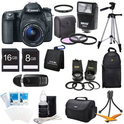 EOS 70D 20.2 MP CMOS DSLR Camera w/ EF-S 18-55mm STM + 55-250mm Lens Ultra Kit