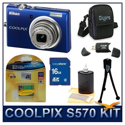 COOLPIX S570 12MP Digital Camera (Blue) w/ 16 GB Memory Kit