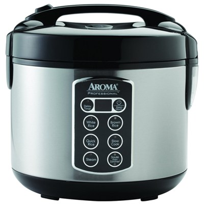 Professional 12 Cup Black and Stainless Digital Rice Cooker