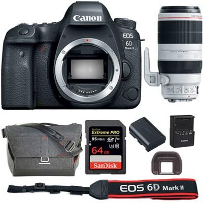EOS 6D Mark II 26.2MP Full-Frame DSLR Camera + 100-400mm Lens +64GB Bundle