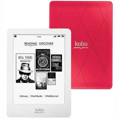 Glo 6` Touchscreen eReader w/ XGA Display, Front Light (White/Pink)(N613-KBO-P)