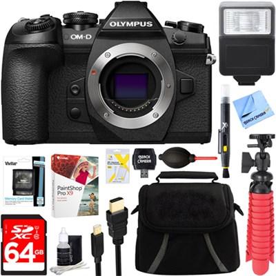 OM-D E-M1 Mark II Mirrorless Digital Camera Body + 64GB Memory & Flash Bundle