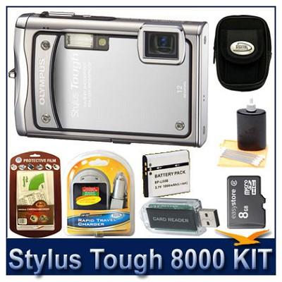 Stylus Tough 8000 12MP 2.7` LCD Digital Camera (Silver) Sensible Mega Bundle