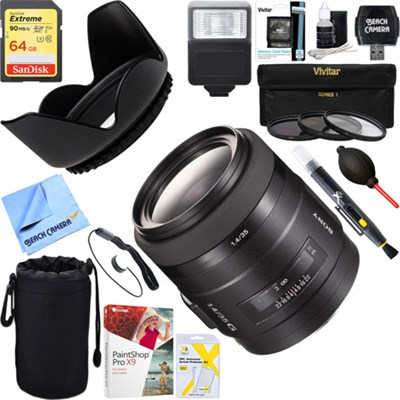 G Series Wide Angle 35mm f/1.4 G Autofocus A-Mount Lens + 64GB Ultimate Kit