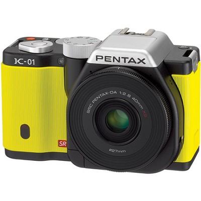K-01 Digital SLR Yellow 16MP Camera 40mm Lens Bundle, 3 inch LCD, 1080p HD Video