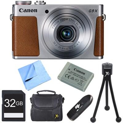 PowerShot G9 X Digital Camera with 3x Optical Zoom 32GB Bundle - Silver