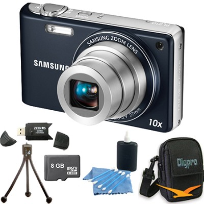 PL210 Superzoom 14MP Compact Indigo Blue Digital Camera 8 GB Bundle