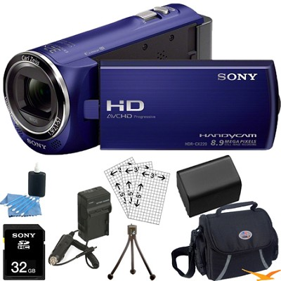 HDR-CX220/L Full HD Camcorder (Blue) Ultimate Bundle