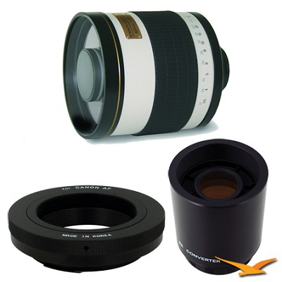 800mm F8.0 Mirror Lens for Canon EOS with 2x Multiplier (White Body) - 800M