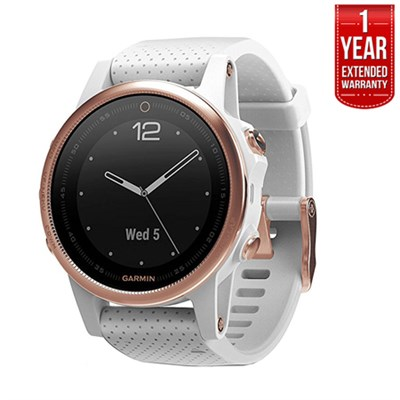 Fenix 5S Multisport GPS Watch Rose Goldtone,White Band +1Year Extended Warranty
