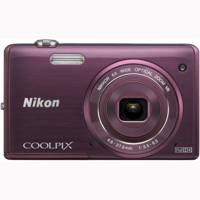 COOLPIX S5200 16 MP Built-In Wi-Fi Digital Camera - Plum - OPEN BOX
