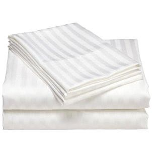 Luxurious 400 Thread Count Woven Cotton Sateen Sheet Set - White (Queen)