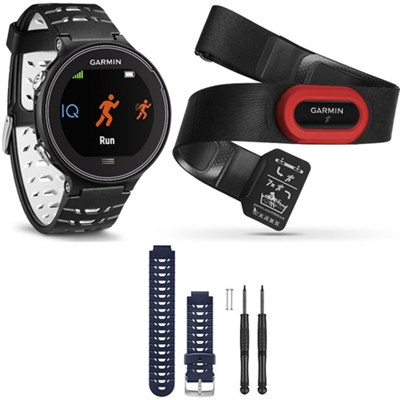 Forerunner 630 GPS Smartwatch w/ HRM-Run - Black/White - Blue Band Bundle