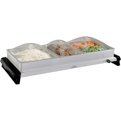 NBS-3SLP Professional Family-Size Stainless-Steel Buffet Server with Plastic Lid