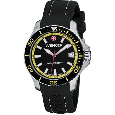 Ladies' Sea Force Swiss Watch - Black and Yellow Dial/Black Silicone Strap