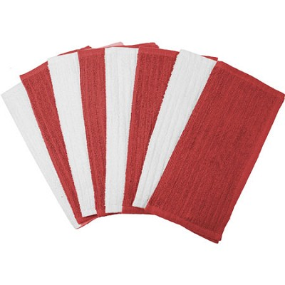8 Pack Terry Utility Dish Cloth - Red and White