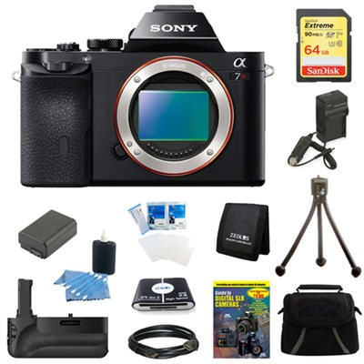 Alpha 7R a7R Digital Camera 64 GB SDHC Card, Battery and Battery Grip Bundle