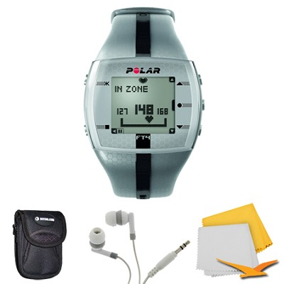 FT4 Heart Rate Monitor - Silver/Black Bundle