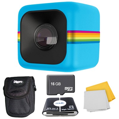 POLC3 Cube HD Digital Video Action Camera 16GB Accessory Bundle (Blue)