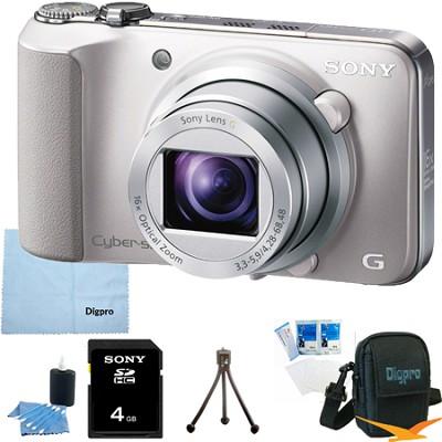 Cyber-shot DSC-HX10V (Silver) 18.2 MP 16x Zoom 3D Sweep HD Video 4GB Bundle