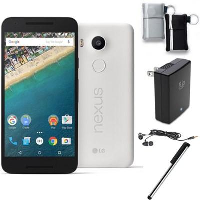 H790 Google Nexus 5X 16GB Unlocked Smartphone Quartz White Bundle