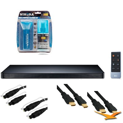 LAP340 Sound Plate 340 Slim 4.1 Surround Sound Speaker System Plus Hookup Bundle