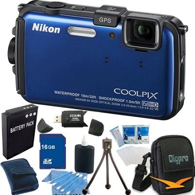COOLPIX AW100 16MP Waterproof Shockproof Freezeproof Blue Camera 16GB Bundle