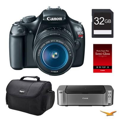 EOS T3 Black DSLR Camera 18-55mm Lens 32GB, Printer Bundle