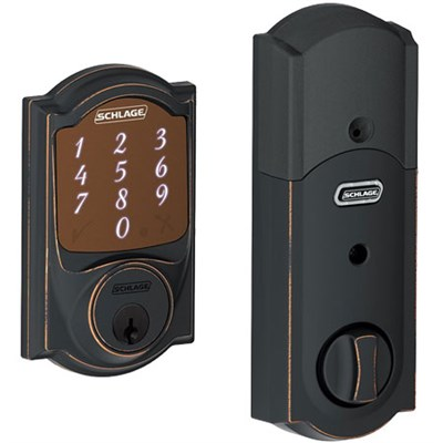 Sense Smart Deadbolt with Camelot Trim in Aged Bronze (BE479 CAM 716)