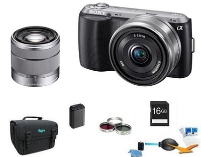 Alpha NEX-C3 Interchangeable Lens Black Camera w/ 16mm and SEL 18-55mm Lens