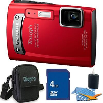 Tough TG-310 14 MP Water/Shock/Freezeproof Digital Camera Red 4GB Kit