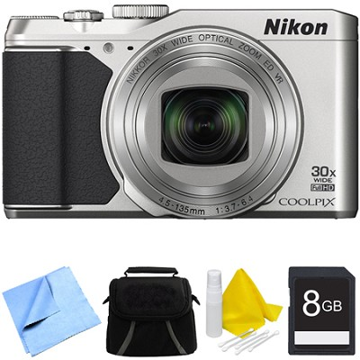 COOLPIX S9900 16MP HD 1080p 30x Opt Zoom Digital Camera - Silver Bundle