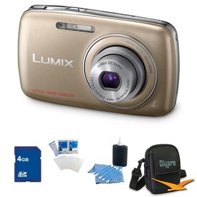 Lumix DMC-S1 12MP Compact Gold Digital Camera w/ 720p HD Video 4GB Bundle