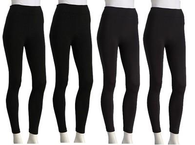 4-Pack Seamless Fleece Leggings Multi Color:  Black, Navy, Grey, Brown One Size