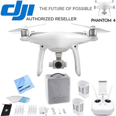 Phantom 4 Quadcopter Drone w/ Bonus 2nd Battery, Custom Case & more