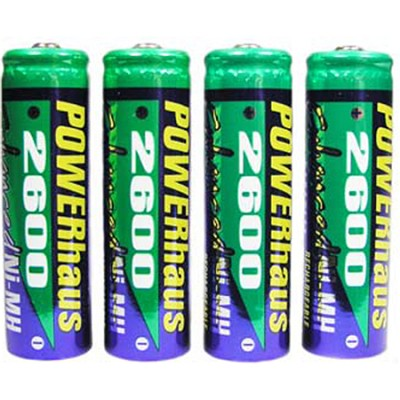 Pack OF 4 2600 AA NMH Rechargeable Batteries (charger not included)
