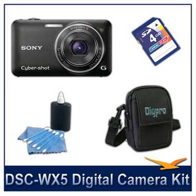 Cyber-shot DSC-WX5 Digital Camera (Black) with 4GB Card, Case, More