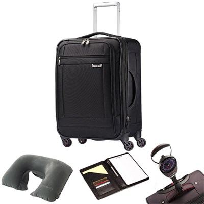 SoLyte 20` Expandable Spinner Carry On Suitcase 73850-1041 Black w/ Travel Kit