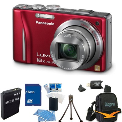 Lumix DMC-ZS10 14.1 MP Camera 16x Zoom Optical I.S. Lens w GPS Red 16 GB Bundle