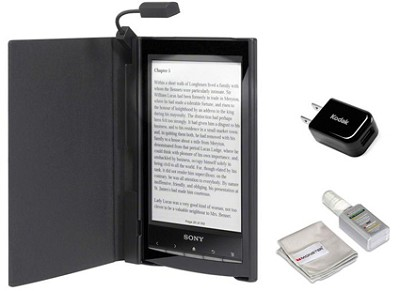 PRS-T1 6 inch Digital eReader (Black) BUNDLE w Case, Light, USB Adapter, Cleaner