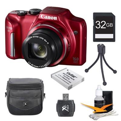 PowerShot SX170 IS 16MP Digital Camera Red 32GB Kit