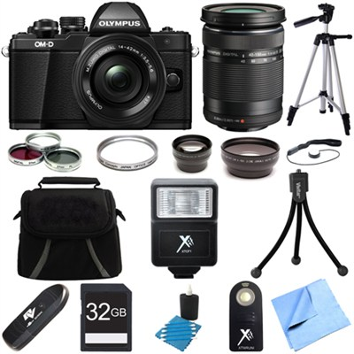 OM-D E-M10 Mark II Mirrorless Digital Camera w/ 14-42mm + 40-150mm Lens Bundle