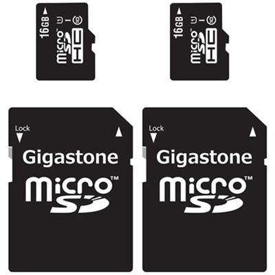 MicroSD HC 16GB C10 U1 With SD Adapter 2-Pack Bundle