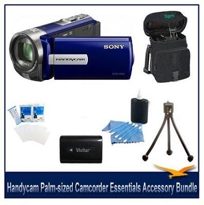 DCR-SX65 Handycam Blue 4GB Camcorder Bundle w Spare Batt, Case and More