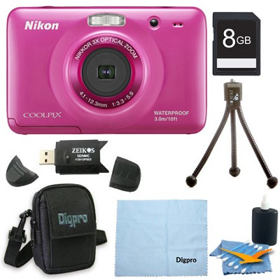 COOLPIX S30 10.1MP 2.7 LCD Waterproof Shockproof Digital Camera 8GB Pink Bundle