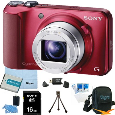 Cyber-shot DSC-H90 16.1 MP 16x Optical Zoom HD Video Camera (Red) 16GB Bundle